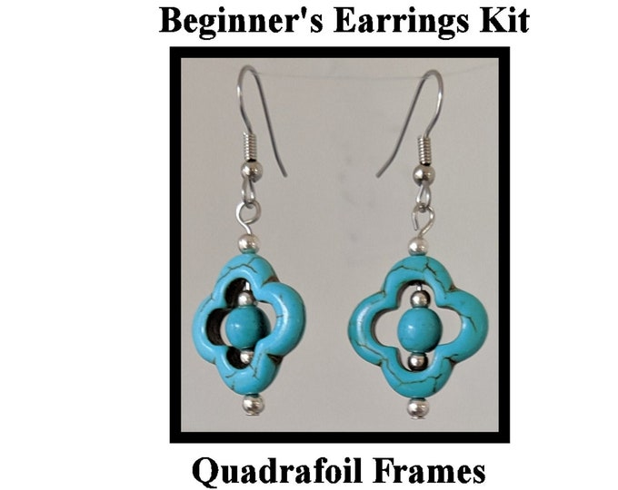 DIY Jewelry Kit - Turquoise Quatrefoil Earrings - Instructions & Findings