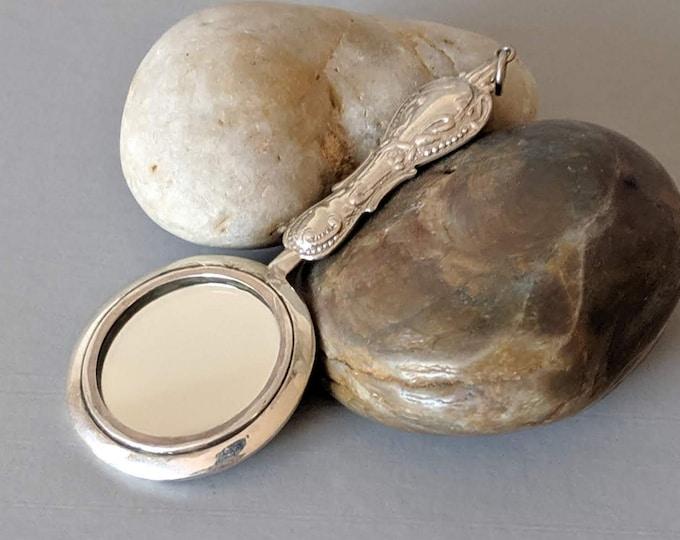 Round Sterling Silver Floral Girdle Mirror - Elizabethan Renaissance