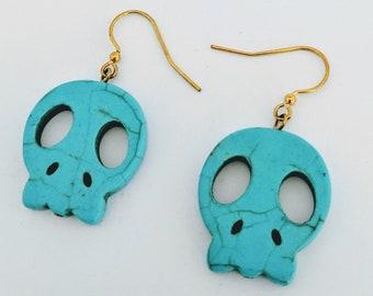 Happy Halloween Memento Mori Tribal Skull Earrings - Turquoise