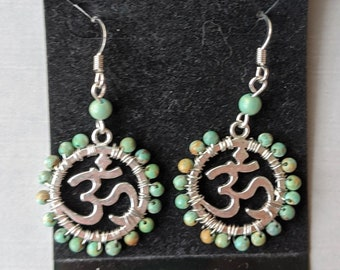 Turquoise Om Earrings - Ohm - Aum - Crown Chakra Positive Universal Energy