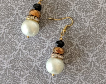 Elizabethan Pearl and Jet Crystal Dangles - Renaissance Earrings