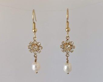 Maria Freshwater Pearls w Clear Swarovski Crystal Earrings - Italian