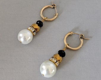 Elizabethan Pearl and Jet Crystal Vermeil Hoops - Renaissance Earrings