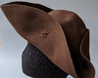 Pauper's Tricorn - Poor Man's Tricorn - Laced Tricorn - Cocked Felt Hat - Colonial Tricorne - Revolutionary