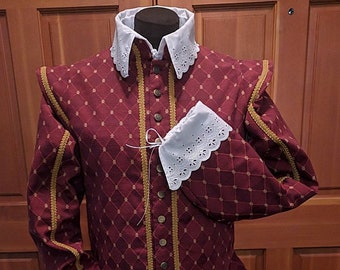 Burgundy Weston Brocade Fencing Doublet  w/ Sleeves SCA Rapier Armor