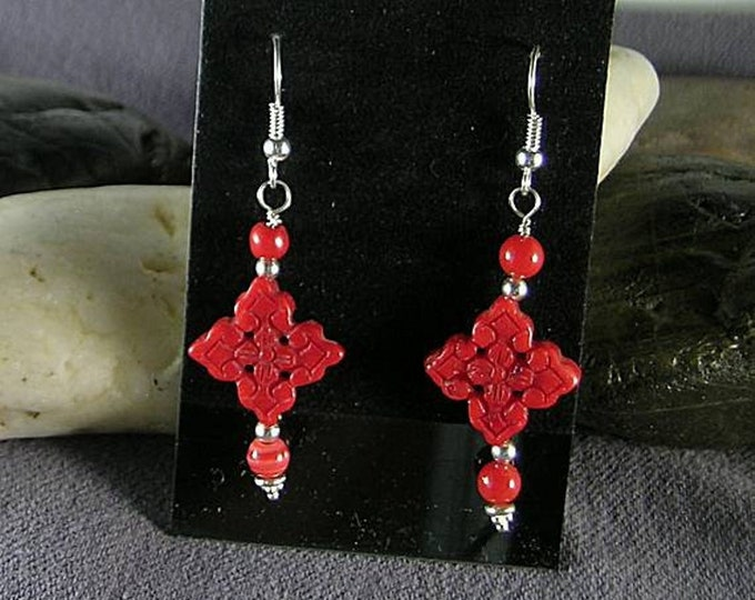 Carved Red Bamboo Coral Quatrefoil Earrings