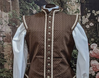 Brown Sussex Brocade Fencing Doublet - Gipsy Peddler SCA Rapier Armor