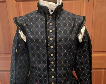 Blue Weston Brocade Fencing Doublet  w/ Sleeves SCA Rapier Armor