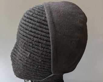 New! Black Cotton Flannel Coif  -  Renaissance Biggins - Elizabethan