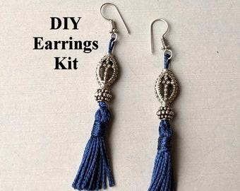 DIY Kit - Silver Cross Blue Tassel Earrings C - Instructions & Findings