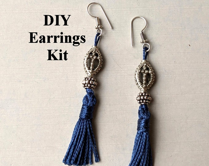 DIY Kit - Silver Cross Blue Tassel Earrings C - Instructions & Findings