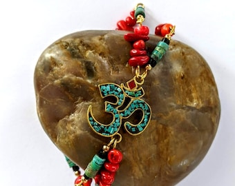 New! Om Bracelet - Turquoise - Red Bamboo Coral