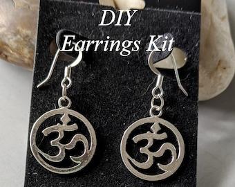 DIY Om Earrings Kit - Ohm - Aum - Basic Jewelry Series Beginner Level