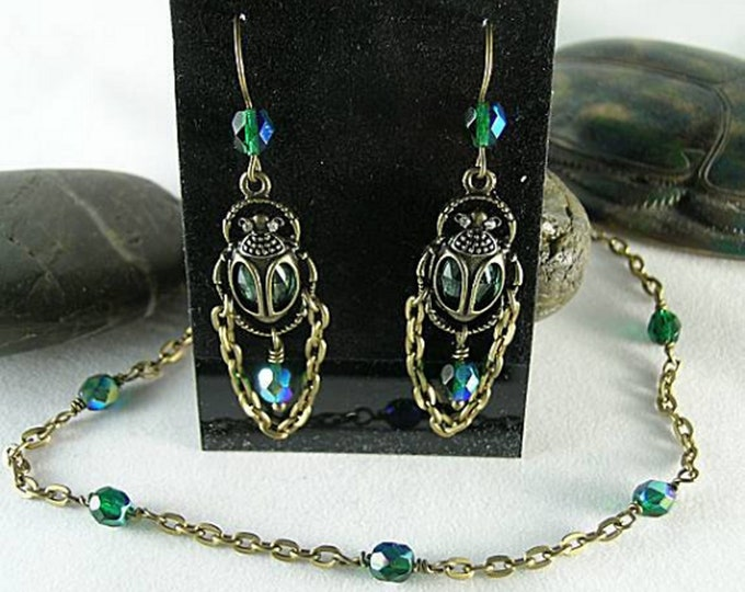 Scarab Earrings and Necklace Set - Green AB Crystals - Love Egyptian