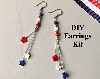 DIY Jewelry Kit - Patriotic - Red White Blue Stars B - Instructions
