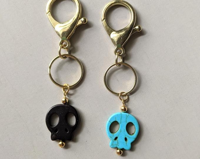 Turquoise or Black Magnesite Skull Lobster Claw Key Ring Memento Mori