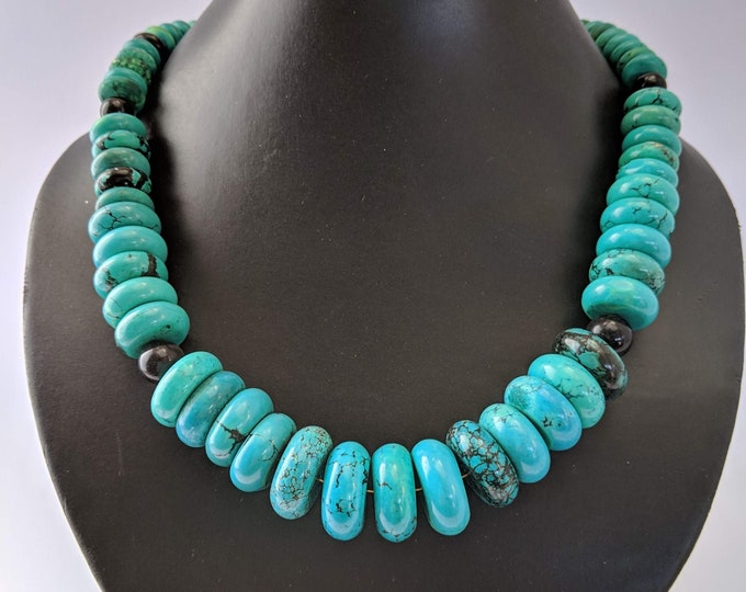 Turquoise Necklace - Skystone Mayan Aztec - Native American - Tribal