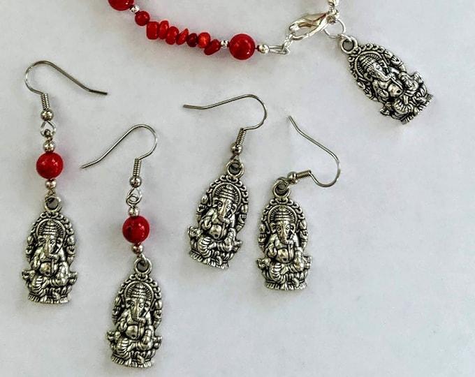 Ganesh Bracelets & Earrings - Red Bamboo Coral - Hindu God Good Luck
