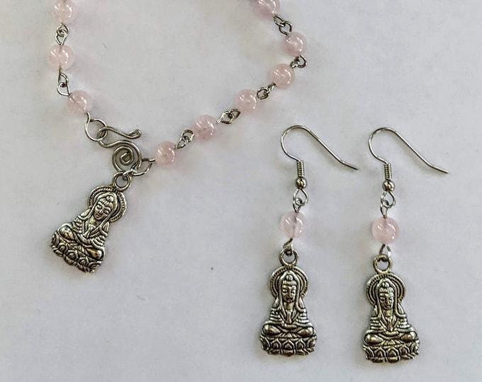 Quan Yin Bracelet & Earring Rose Quartz Set - Goddess Love and Mercy