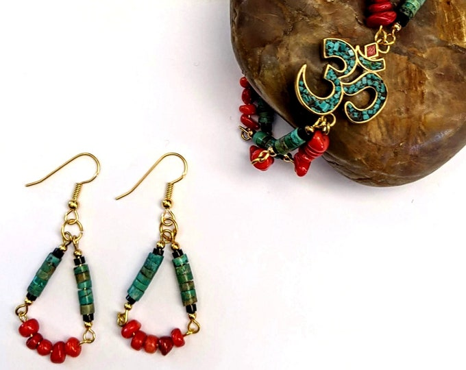 New! Om Bracelet and Loop Earring Set - Turquoise - Red Bamboo Coral