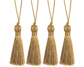 "2 Small Metallic 2"" Tassels - Gold or Silver - Home Decor - Crafts"