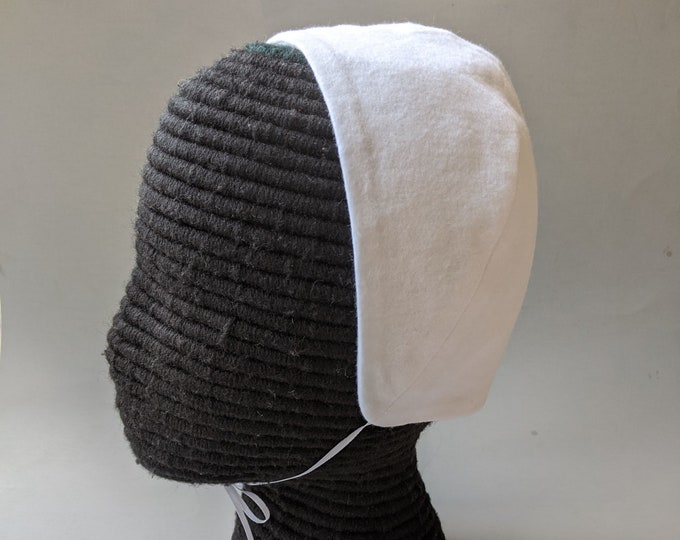 NEW! White Cotton Flannel Coif  - Renaissance