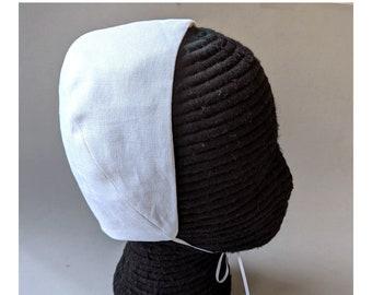 White Linen Coif  - Italian Renaissance Cap - Tudor Elizabethan