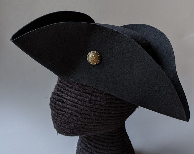 Yorktown Military Tricorn - Buttoned Tricorn - American Revolutionary Felt Hat