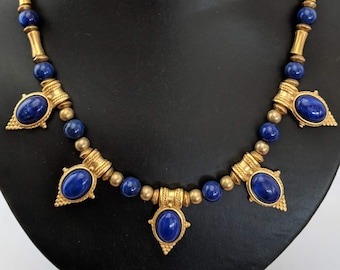 Vintage Lapis Egyptian Style Necklace - Victorian - Ancient Egypt