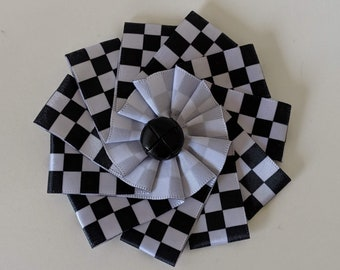 Discontinued! Checky Cockade - Black and White Ribbon  SCA Sable and Argent Heraldry