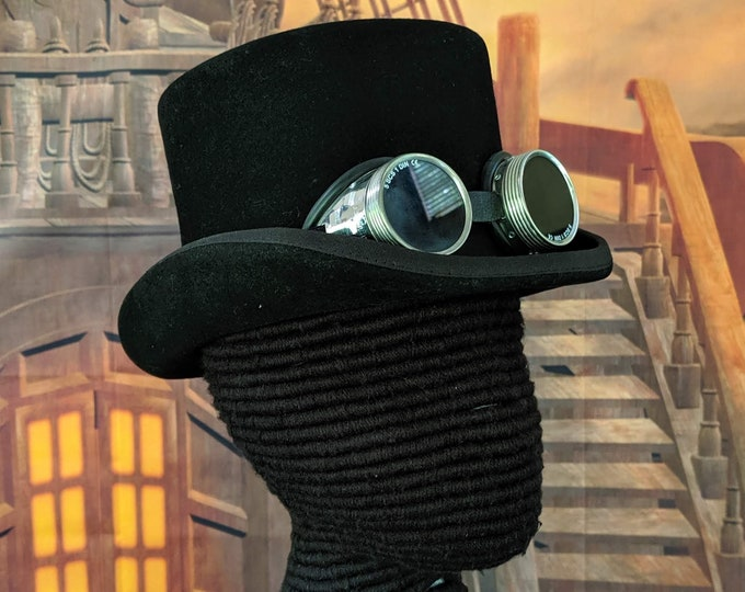 Real Formal Top Hat w/ Real Goggles - 19th C - Wedding - Opera Steampunk Topper