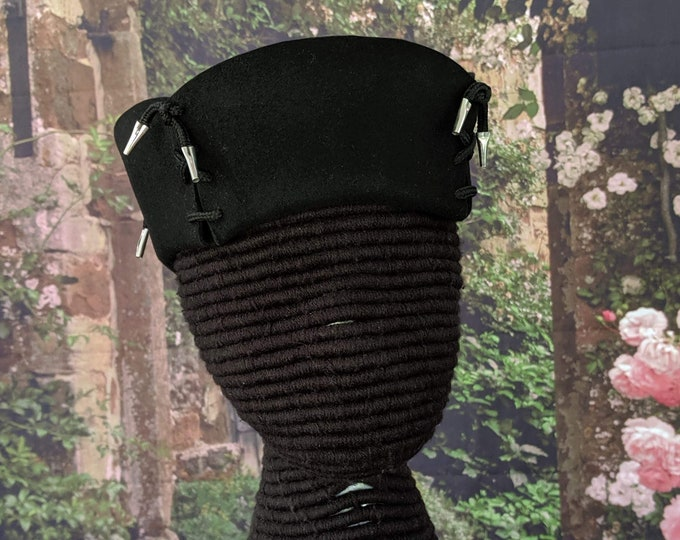4-Sided Felt Hat - Laced Corners with Metal Aglets - Gothic - Renaissance - SCA 15th c.