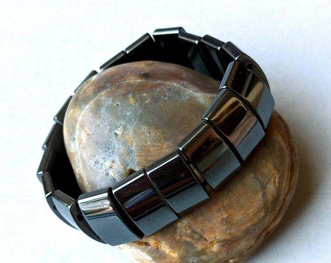 Plain Magnetic Hematite Stretch Bracelet- Rectangle 2-Hole Beads