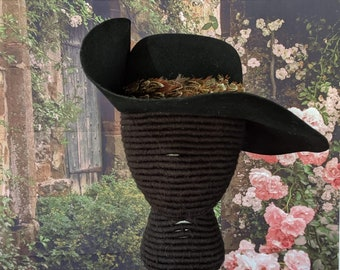 One Left! Felt Cavalier Hat - Brooch - Feather Hatband #2 - Pheasant Feather
