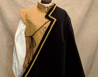 1 in Stock! Gold Trim on Black Velveteen Fighting Half Cape -  SCA Rapier Armor