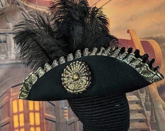 Laced Tricorn with Pleated Trim and Cockade - Pirate Hat One of A Kind