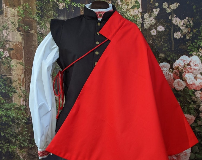 1 in stock! Red SCA Fencing Half Cape - Gipsy Peddler Rapier Armor