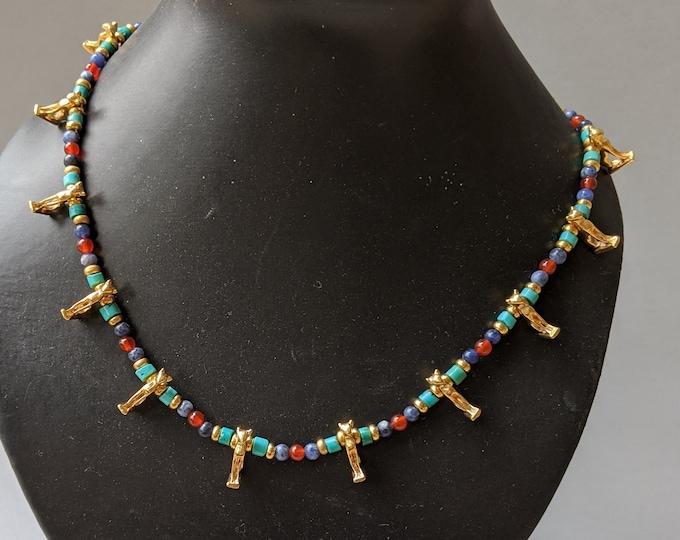 Vintage Goddess Bastet Sacred Cat Necklace - Ancient Egyptian Jewelry