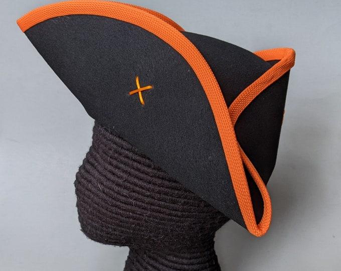 Yorktown Military Tricorn - Orange Edging - American Revolutionary Felt Hat