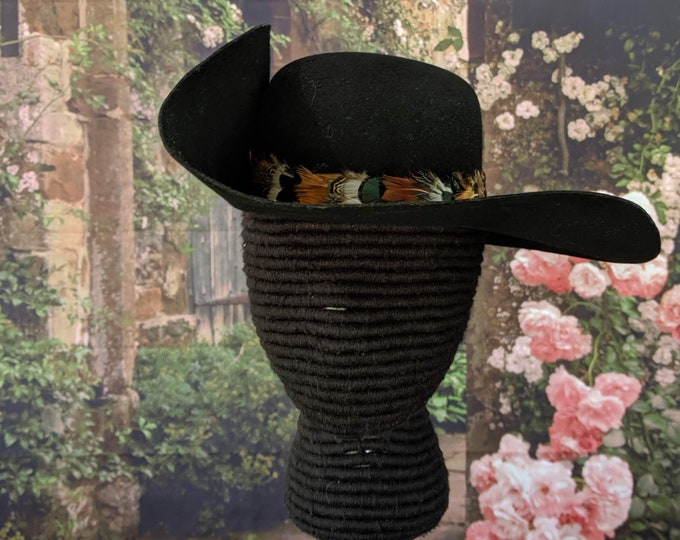 One Left! Black Felt Cavalier Hat - Assorted Pheasant Feather Hatband