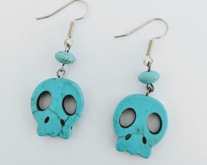 Aztec Native American Memento Mori Turquoise Skull Earrings