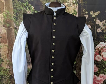 In Stock! Small Black Fencing Jerkin Doublet - Gipsy Peddler SCA Rapier Armor