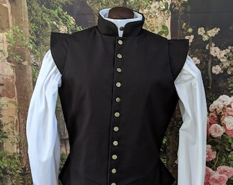 In Stock! Small Black Fencing Jerkin Doublet - Gipsy Peddler SCA Rapier Armor