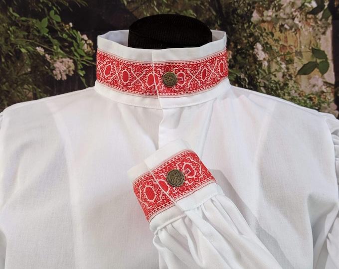 In Stock! Rapier Shirt Redwork Collar Cuffs - SCA Fencing Armor
