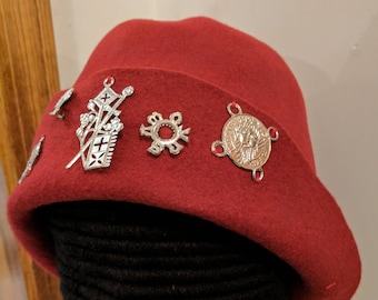 Red Felt Hat w Pewter Badges - Gothic Hood - Renaissance Bell - SCA Bucket