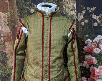 Sage Sussex Brocade Doublet & Tie-On Sleeves Rapier Armor SCA Fencing