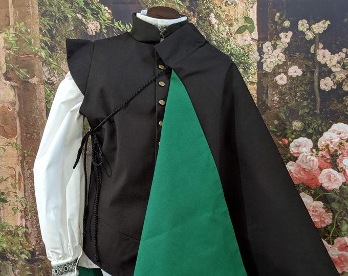 In Stock! Green Lining on Black Half Cape - Fencing Cloak - SCA Rapier