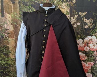 Half Cape w/Colored Lining - Black Fencing Cloak - SCA Rapier Armor