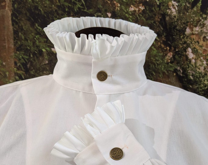 In Stock!  All Sizes! Fencing Shirt w Short Ruff Collar & Cuffs SCA Rapier Armor
