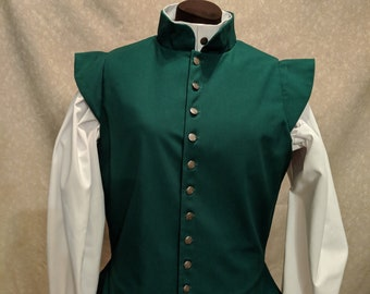 2 in stock! Medium Green Fencing Jerkin Doublet - Gipsy Peddler SCA Rapier Armor